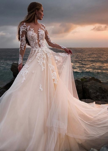 Champagne Tulle Wedding Dress with Illusion Lace Long Sleeves
