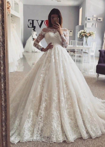Cathedral Train Lace Bridal Dresses with Sleeves vestido de boda