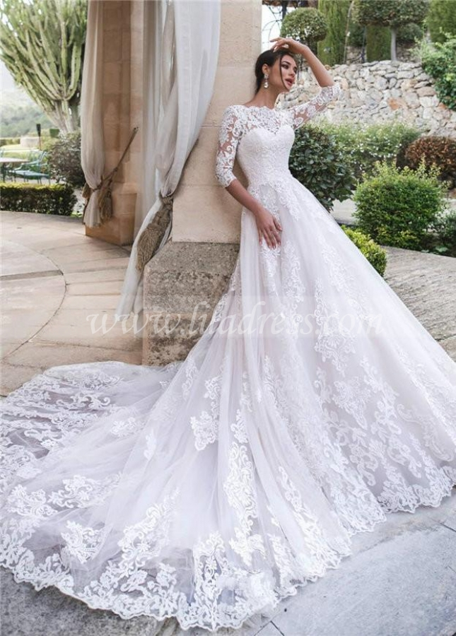 Cathedral Train White Lace Bridal Dresses with Sleeves vestido de boda