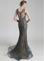 Gorgeous Tulle & Lace Scoop Neckline Mermaid Formal Dress With Beadings