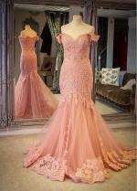 Alluring Tulle Off-the-shoulder Neckline Floor-length Mermaid Evening Dresses With Lace Appliques & Rhinestones