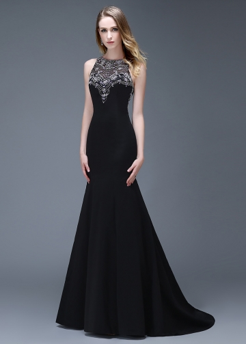 Elegant Satin Black Full-length Mermaid Evening Dresses
