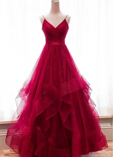 Distinctive Red Tulle Spaghetti Straps Neckline Floor-length A-line Evening Dresses