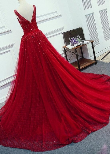 Dazzling Tulle Jewel Neckline Floor-length A-Line Evening Dresses With Beadings & Belt