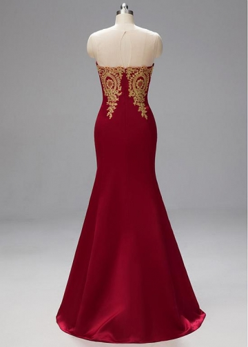 Fabulous Lace & Satin Jewel Neckline Floor-length Mermaid Prom Dresses