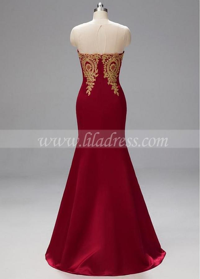 Fabulous Lace & Satin Jewel Neckline Floor-length Mermaid Prom Dresses