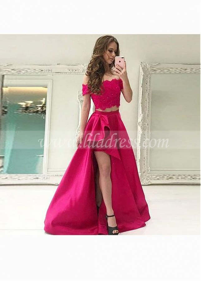 Splendid Satin Off-the-shoulder Neckline Two-piece A-line Prom Dresses With Pockets