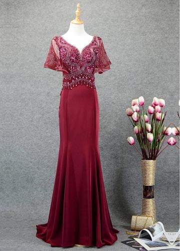 Romantic Tulle & Satin V-neck Neckline Mermaid Prom Dresses With Beadings