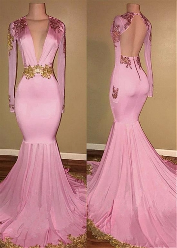 Exquisite V-neck Neckline Floor-length Mermaid Evening Dresses With Beaded Lace Appliques