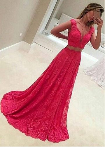 Eye-catching Lace V-neck Neckline Two-piece A-line Evening Dresses