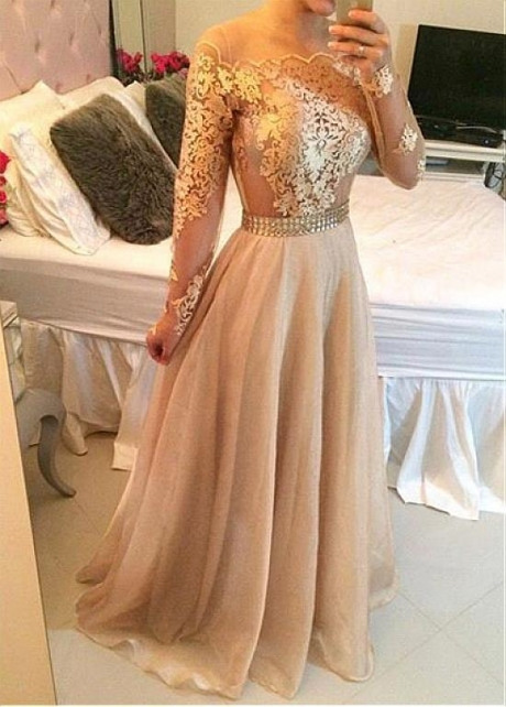 Classic Tulle & Organza Jewel Neckline Floor-length A-line Prom Dresses With Beadings & Lace Appliques