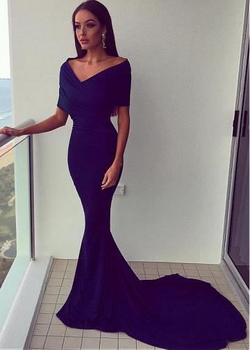 Distinctive Spandex Off-the-shoulder Neckline Floor-length Mermaid Evening Dresses