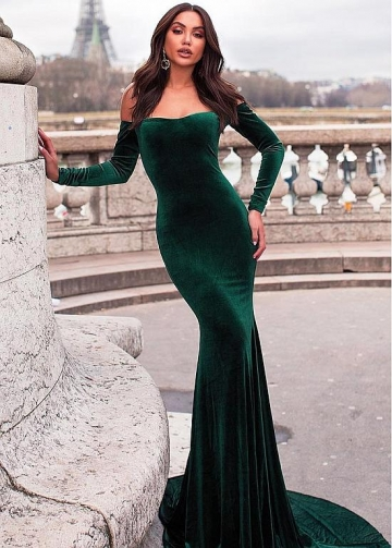 Elegant Fleece Off-the-shoulder Neckline Floor-length Mermaid Evening Dress