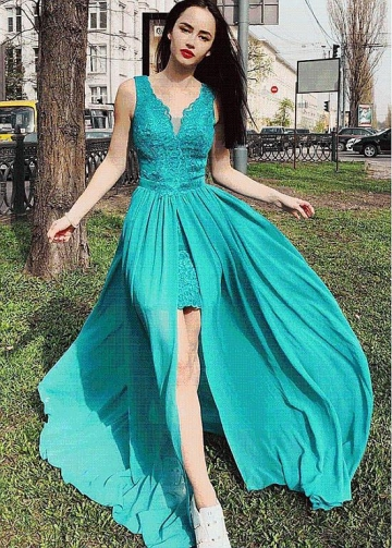 Modern V-neck Neckline Floor-length A-line Evening Dress with Slit