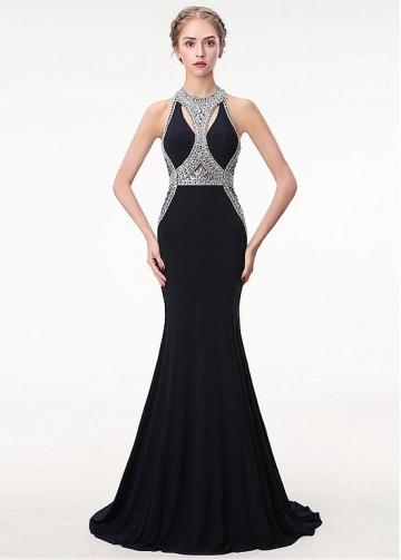 Chic Spandex Halter Neckline Floor-length Mermaid Evening Dress With Beadings