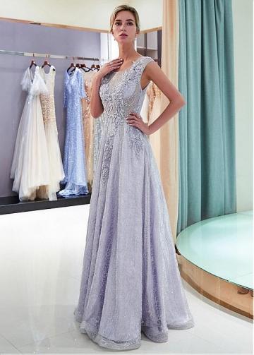 Fabulous Lace Scoop Neckline A-line Formal Dress With Lace Appliques & Beadings