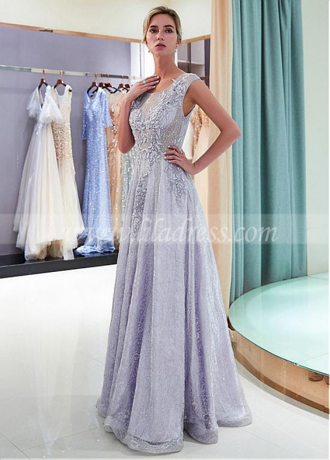 Fabulous Lace Scoop Neckline A-line Formal Dress With Lace Appliques & Beadings