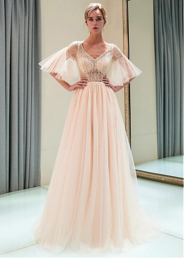 Charming Tulle V-neck Neckline See-through Bodice A-line Prom Dress With Beadings