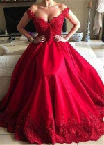 Gorgeous Red Off- the-shoulder Neckline A-Line Evening Dress With Beaded Lace Appliques