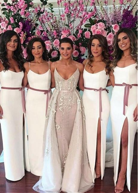 Exquisite Italian Satin Spaghetti Straps Neckline Sheath/Column Bridesmaid Dresses With Belt