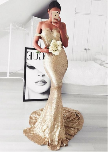 Sparkling Sequin Lace Off-the-shoulder Neckline Mermaid Evening Dress