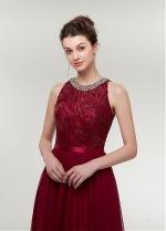 Wonderful Chiffon & Lace Jewel Neckline A-line Prom Dress With Beadings