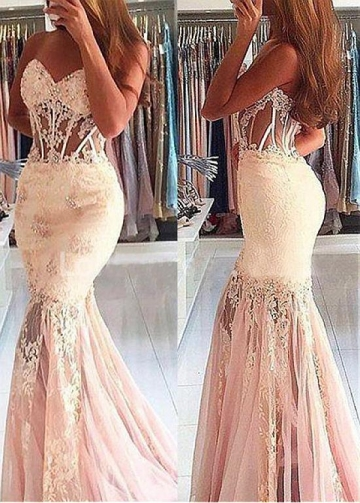 Formal Tulle Sweetheart Neckline Mermaid Evening Dress With Beaded Lace Appliques