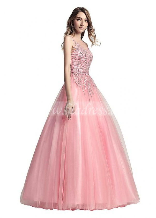 Unique Tulle Bateau Neckline Floor-length A-line Evening Dresses With Embroidery Beadings