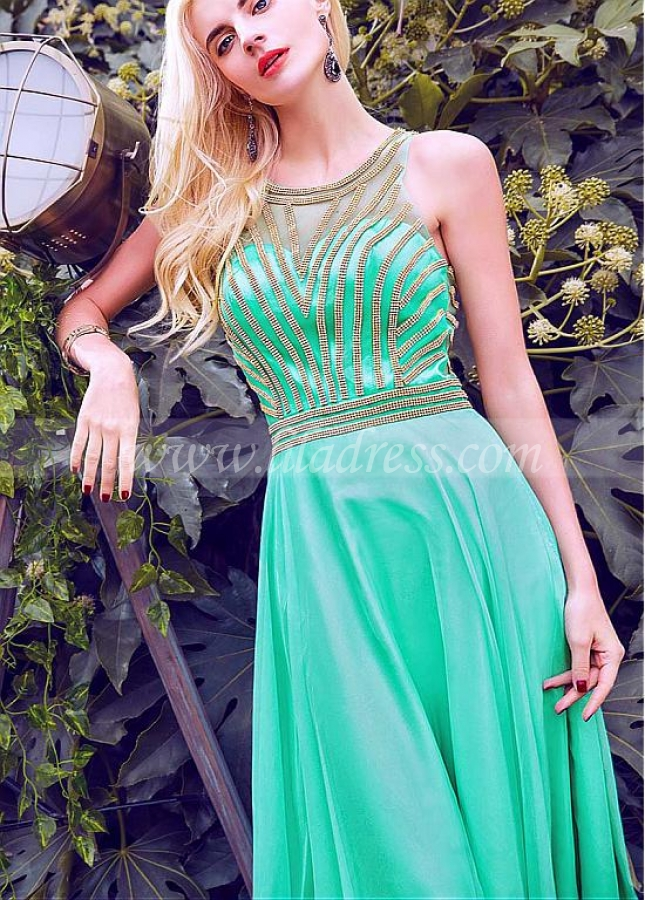 Pretty Chiffon & Tulle Jewel Neckline A-Line Prom Dresses With Beadings