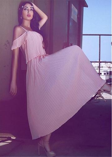 Romantic Chiffon Spaghetti Straps Neckline A-line Prom Dresses