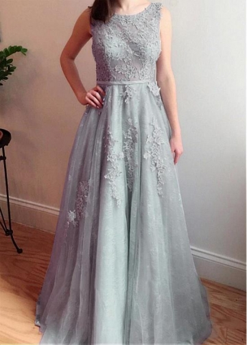 Delicate Tulle Jewel Neckline Floor-length A-line Bridesmaid Dresses With Lace Appliques & Beadings & Belt