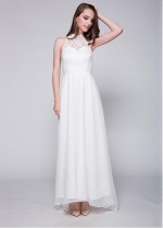 Fabulous Lace & Chiffon High-Collar Neckline A-Line Evening / Bridesmaid Dress