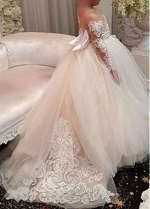 Pretty Tulle Bateau Neckline Ball Gown Flower Girl Dress With Lace Appliques & Bowknot