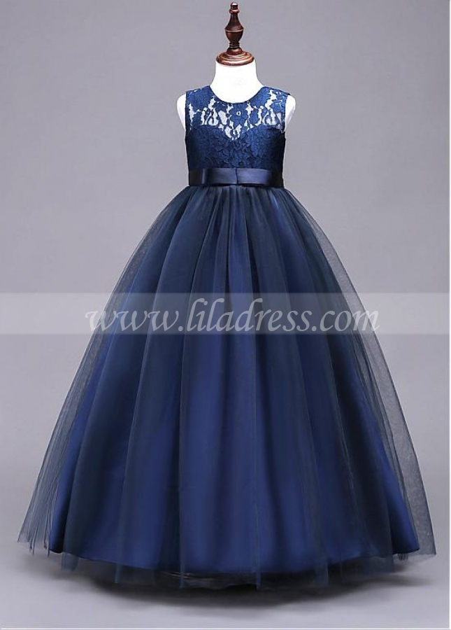 Elegant Tulle & Lace Jewel Neckline Full-length A-line Flower Girl Dress With Bowknot