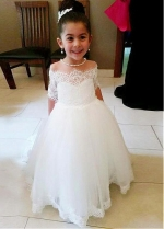 Splendid Tulle Off-the-shoulder Neckline Ball Gown Flower Girl Dresses With Lace Appliques