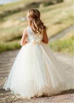Fabulous Tulle & Satin Jewel Neckline Ball Gown Flower Girl Dresses With Belt & Handmade Flower