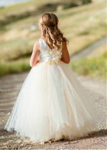 Fabulous Tulle & Satin Jewel Neckline Ball Gown Flower Girl Dresses With Belt & Handmade Flower