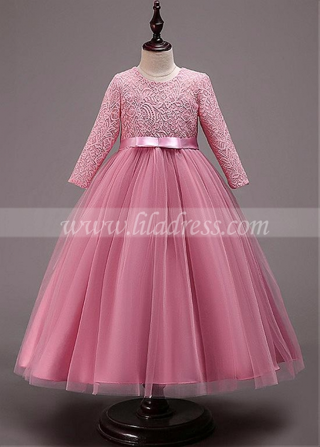 Romantic Lace & Tulle Jewel Neckline A-line Flower Girl Dresses With Bowknots