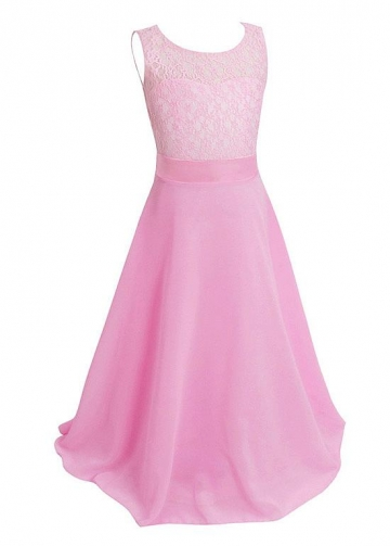Stunning Lace & Chiffon Bateau Neckline A-line Flower Girl / Junior Bridesmaid Dresses