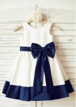 Cute Lace & Tulle & Satin Jewel Neckine A-line Flower Girl Dresses