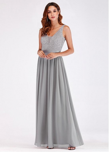 Fashionable Lace V-neck Neckline Floor-length A-line Bridesmaid Dresses