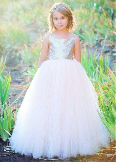Pretty Sequin Lace & Tulle Scoop Neckline Ball Gown Flower Girl Dresses