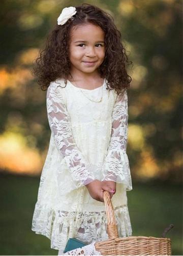 Sweet Lace Scoop Neckline A-line Flower Girl Dresses