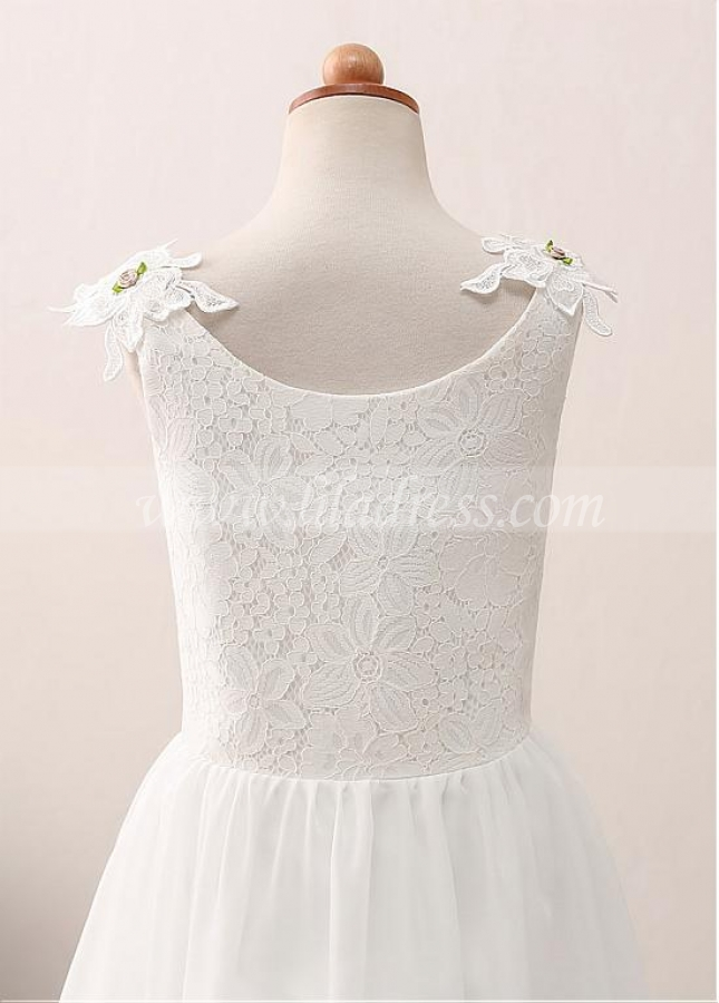 Delicate Chiffon Scoop Neckline A-line Flower Girl Dress