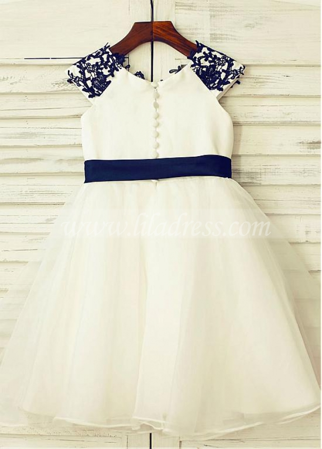 Wonderful Tulle & Satin Scoop Neckline Cap Sleeves A-line Flower Girl Dresses With Lace Appliques & Belt
