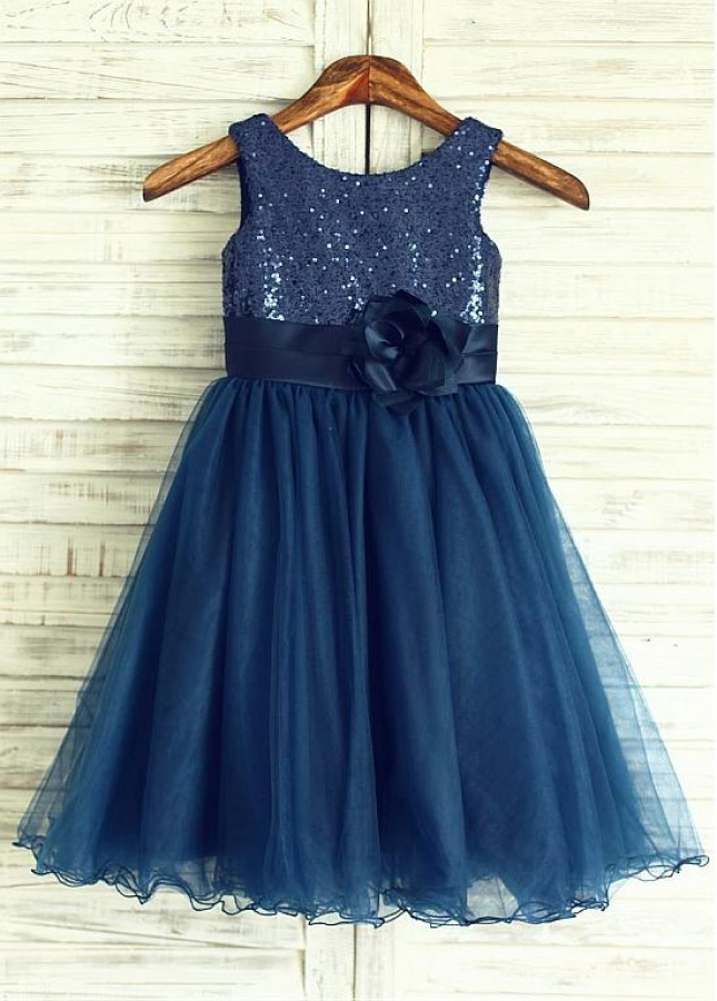 Modern Sequin Lace & Tulle Scoop Neckline A-line Flower Girl Dresses With Handmade Flowers