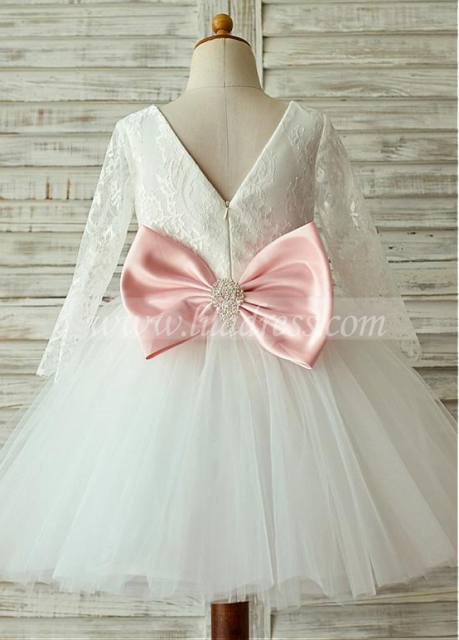 Eye-catching Lace & Tulle Bateau Neckline Long Sleeves Knee-length Ball Gown Flower Girl Dresses With Bowknot & Beadings