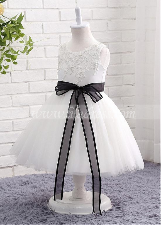 Charming Satin & Tulle Jewel Neckline Ball Gown Flower Girl Dresses With Lace Appliques & Belt