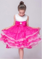 Attractive Organza & Satin Jewel Neckline Ball Gown Flower Girl Dresses With Bowknot