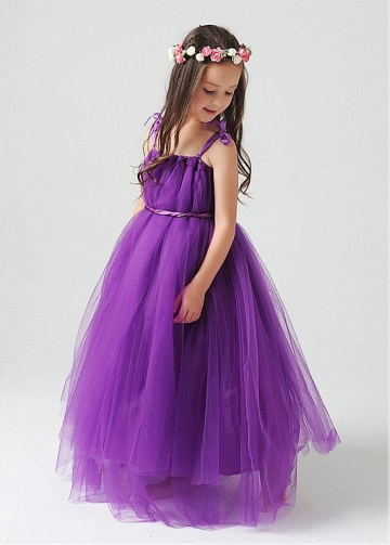 Eye-catching Tulle Spaghetti Straps A-Line Flower Girl Dresses